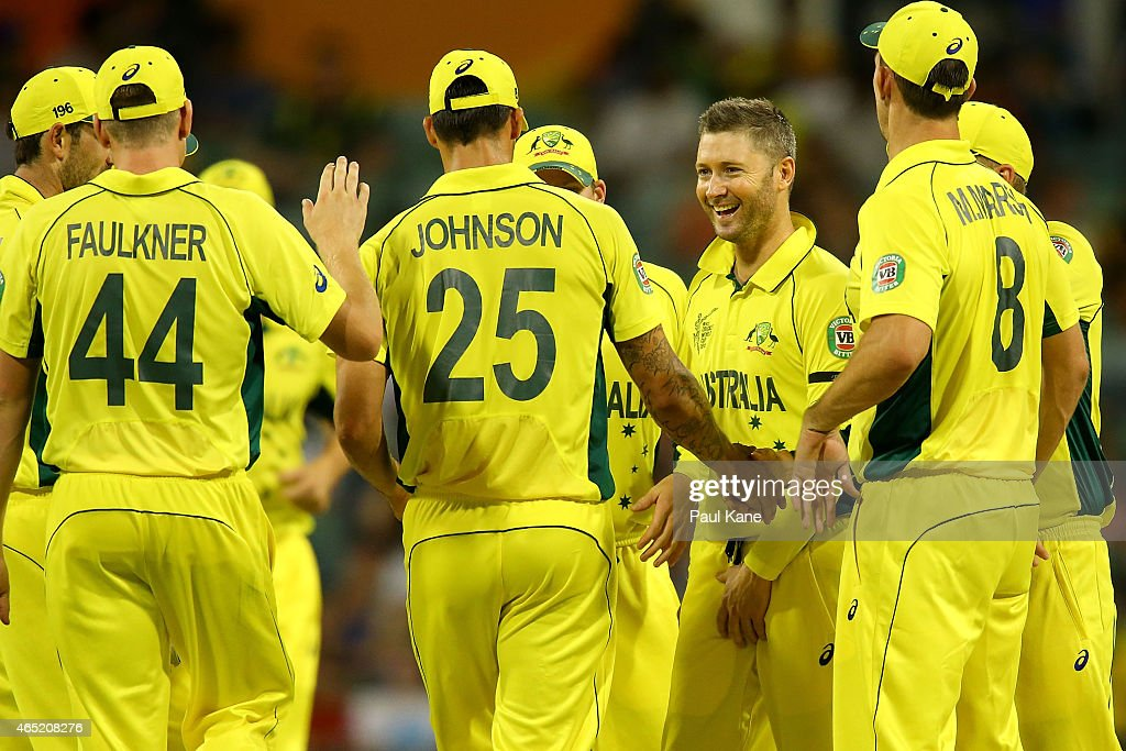 Michael Clarke of Australia celebrates after dismissing Samiullah Shinwari of Afghanistan during the 2015 ICC Cricket World Cup match between Australia and Afghanistan at WACA on March 4, 2015 in Perth, Australia.