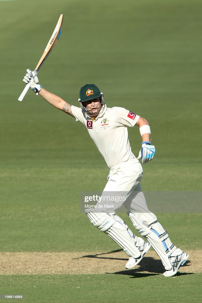 Michael Clarke of Australia celebrates after passing 200 runs during day one of the 2nd Test match between Australia and South Africa at Adelaide Oval on November 22, 2012 in Adelaide, Australia.
