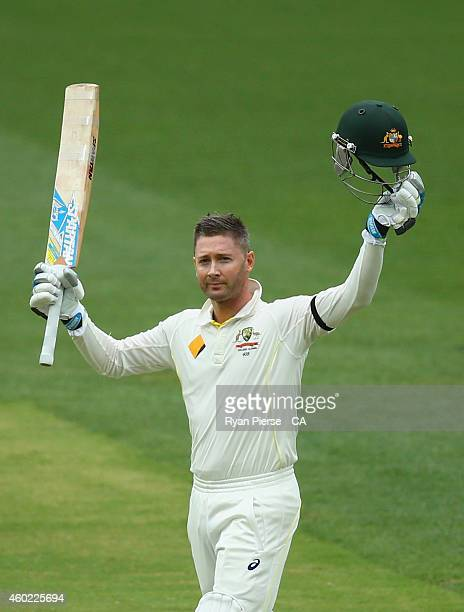 Michael Clarke of Australia celebrates after reaching his century during day two of the First Test match between Australia and India at Adelaide Oval...