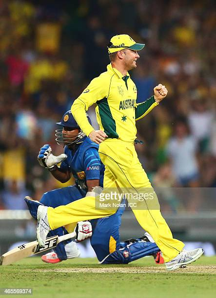 Michael Clarke of Australia celebrates after running out Mahela Jayawardene of Sri Lanka during the 2015 ICC Cricket World Cup match between...