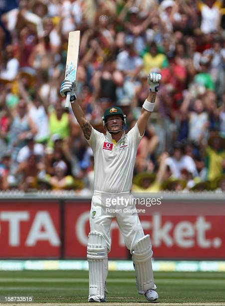 Michael Clarke of Australia celebrates after scoring his century during day two of the Second Test match between Australia and Sri Lanka at Melbourne...
