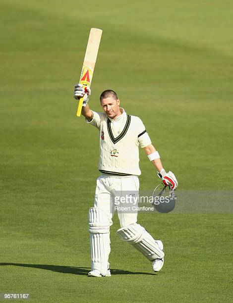 Michael Clarke of Australia celebrates after scoring his century during day one of the Third Test match between Australia and Pakistan at Bellerive...