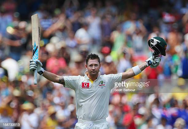 Michael Clarke of Australia celebrates as he reaches his century during day two of the Second Test match between Australia and Sri Lanka at Melbourne...