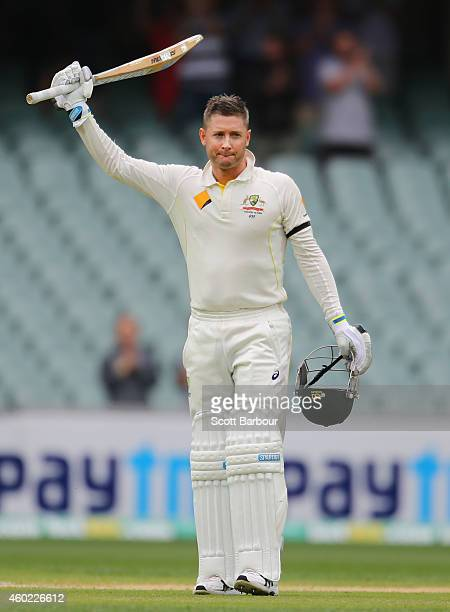 Michael Clarke of Australia celebrates as he reaches his century during day two of the First Test match between Australia and India at Adelaide Oval...