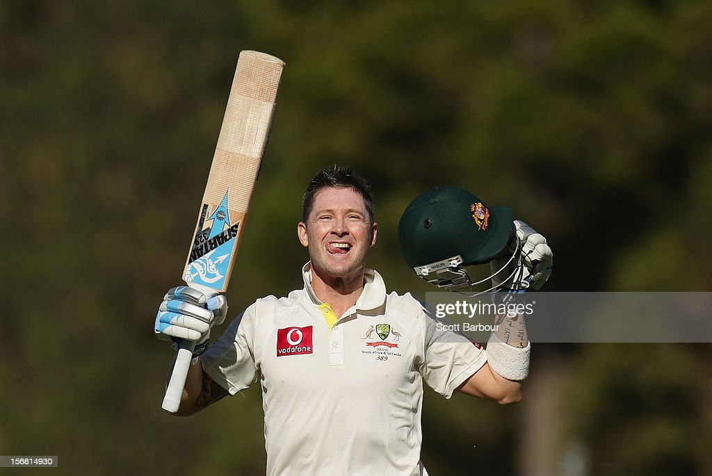 Michael Clarke of Australia celebrates as he reaches his double century during day one of the 2nd Test match between Australia and South Africa at Adelaide Oval on November 22, 2012 in Adelaide, Australia.