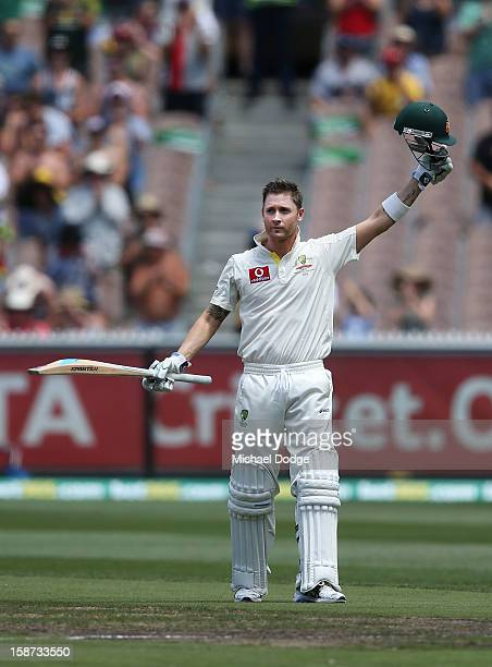 Michael Clarke of Australia celebrates his century during day two of the Second Test match between Australia and Sri Lanka at Melbourne Cricket...