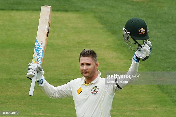 Michael Clarke of Australia celebrates his century during day two of the First Test match between Australia and India at Adelaide Oval on December 10...