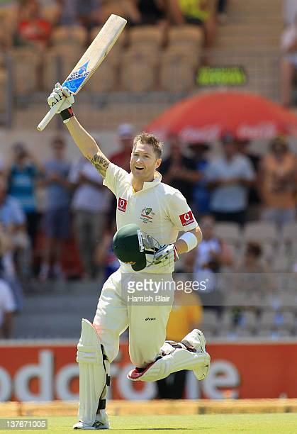 Michael Clarke of Australia celebrates his double century during day two of the Fourth Test Match between Australia and India at Adelaide Oval on...