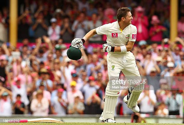 Michael Clarke of Australia celebrates his triple century during day three of the Second Test Match between Australia and India at Sydney Cricket...