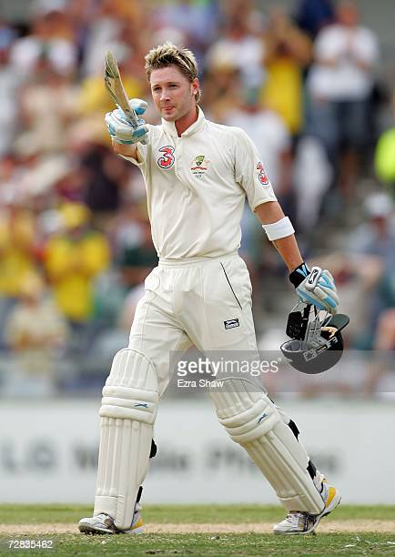 Michael Clarke of Australia celebrates reaching his century during day three of the third Ashes Test Match between Australia and England at the WACA...