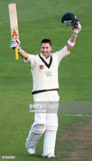 Michael Clarke of Australia celebrates scoring a century during day one of the First Test match between New Zealand and Australia at Westpac Stadium...