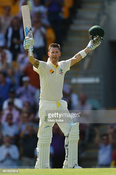 Michael Clarke of Australia celebrates scoring his century during day three of the First Ashes Test match between Australia and England at The Gabba...