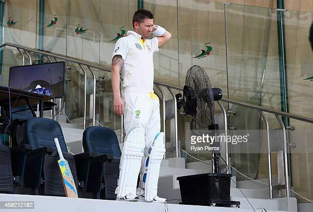 Michael Clarke of Australia cools off during the lunch break during Day Two of the Second Test between Pakistan and Australia at Sheikh Zayed Stadium...