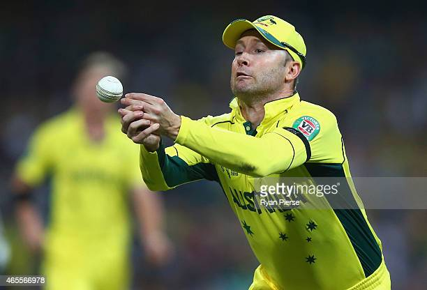Michael Clarke of Australia drops a chance off Tillakaratne Dilshan of Sri Lanka during the 2015 ICC Cricket World Cup match between Australia and...