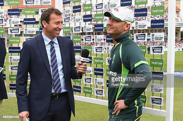 Michael Clarke of Australia fights back tears after he announced his retirement while speaking to former England Captain Michael Atherton during day...