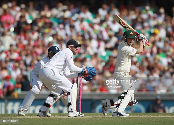 Michael Clarke of Australia hits during day four of the Fifth Ashes Test match between Australia and England at Sydney Cricket Ground on January 6...