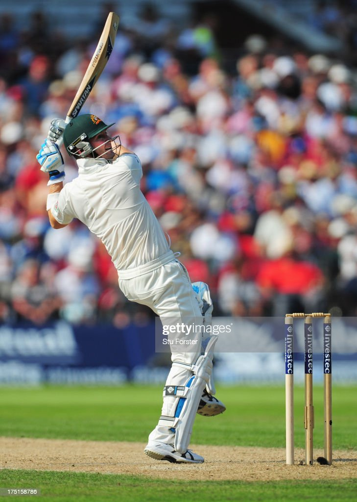 Michael Clarke of Australia hits out during day one of the 3rd Investec Ashes Test match between England and Australia at Old Trafford Cricket Ground on August 1, 2013 in Manchester, England.