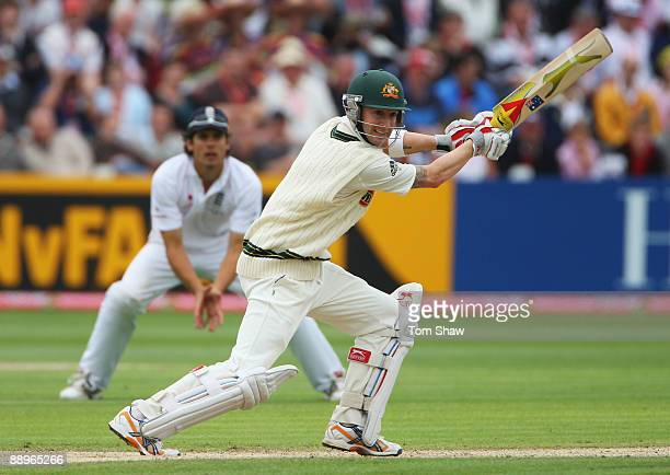 Michael Clarke of Australia hits out during day three of the npower 1st Ashes Test Match between England and Australia at the SWALEC Stadium on July...