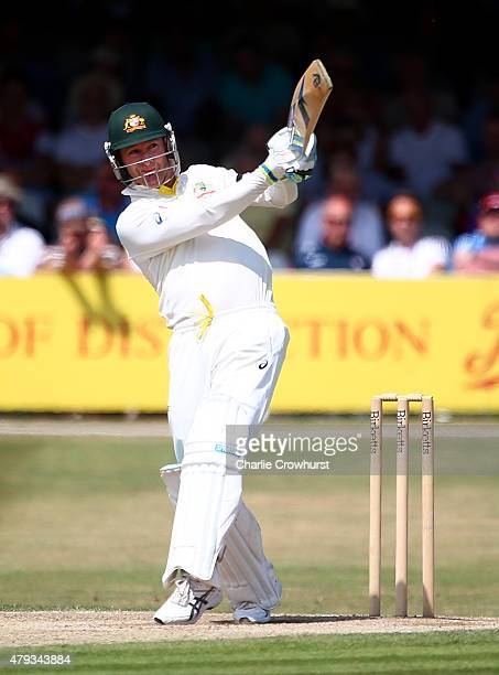 Michael Clarke of Australia hits out during day three of the tour match between Essex and Australia at The Ford County Ground on July 03 2015 in...