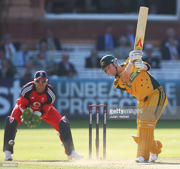 Michael Clarke of Australia hits out watched by Matt Prior of England during the 4th NatWest One Day International between England and Australia at...