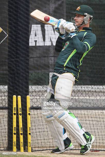 Michael Clarke of Australia hits the nets while testing out his injury before day two of the First Test match between Australia and India at Adelaide...