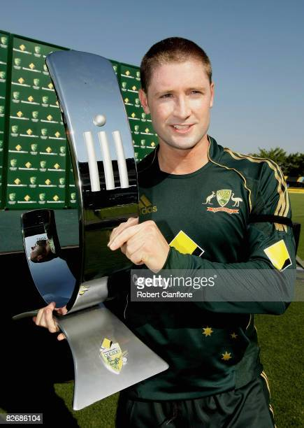 Michael Clarke of Australia holds the Commonwealth Bank Trophy after winning the third one day international match between Australia and Bangladesh...