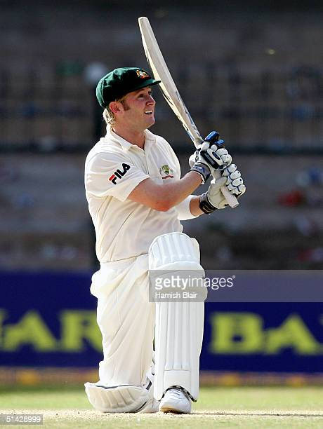 Michael Clarke of Australia in action during day one of the First Test between India and Australia played at the Chinnaswamy Stadium on October 6...