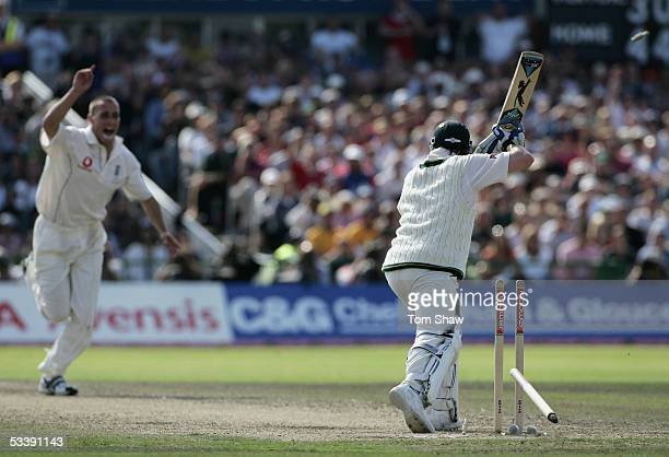 Michael Clarke of Australia is bowled out after leaving a delivery from Simon Jones of England, during day five of the Third npower Ashes Test match...