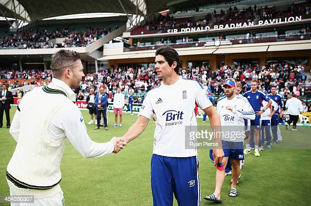 Michael Clarke of Australia is congratulated by Alastair Cook of England during day five of Second Ashes Test Match between Australia and England at...