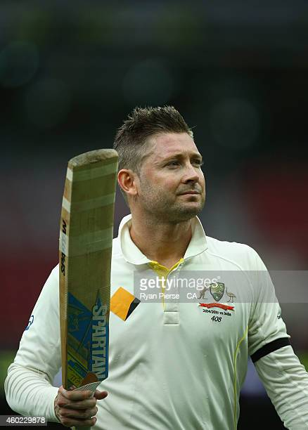 Michael Clarke of Australia leaves the field after being dismissed for 128 runs during day two of the First Test match between Australia and India at...