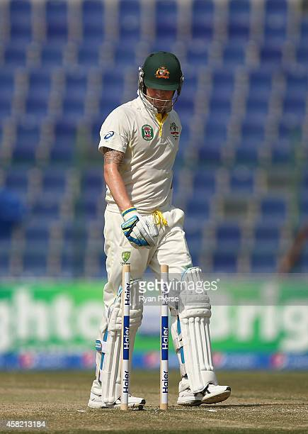 Michael Clarke of Australia looks dejected after being bowled by Imran Khan of Pakistan during Day Two of the Second Test between Pakistan and...