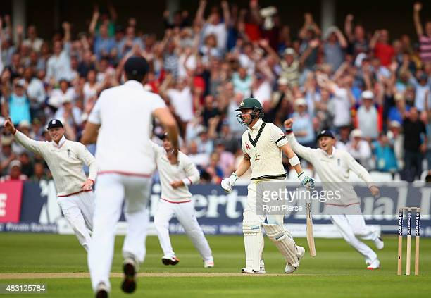 Michael Clarke of Australia looks dejected after being dismissed by Stuart Broad of England during day one of the 4th Investec Ashes Test match...