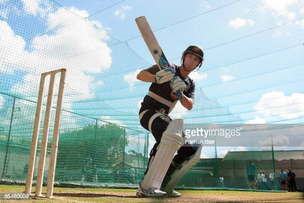 Michael Clarke of Australia looks on during a net session at Newlands on March 17 2009 in Cape Town South Africa