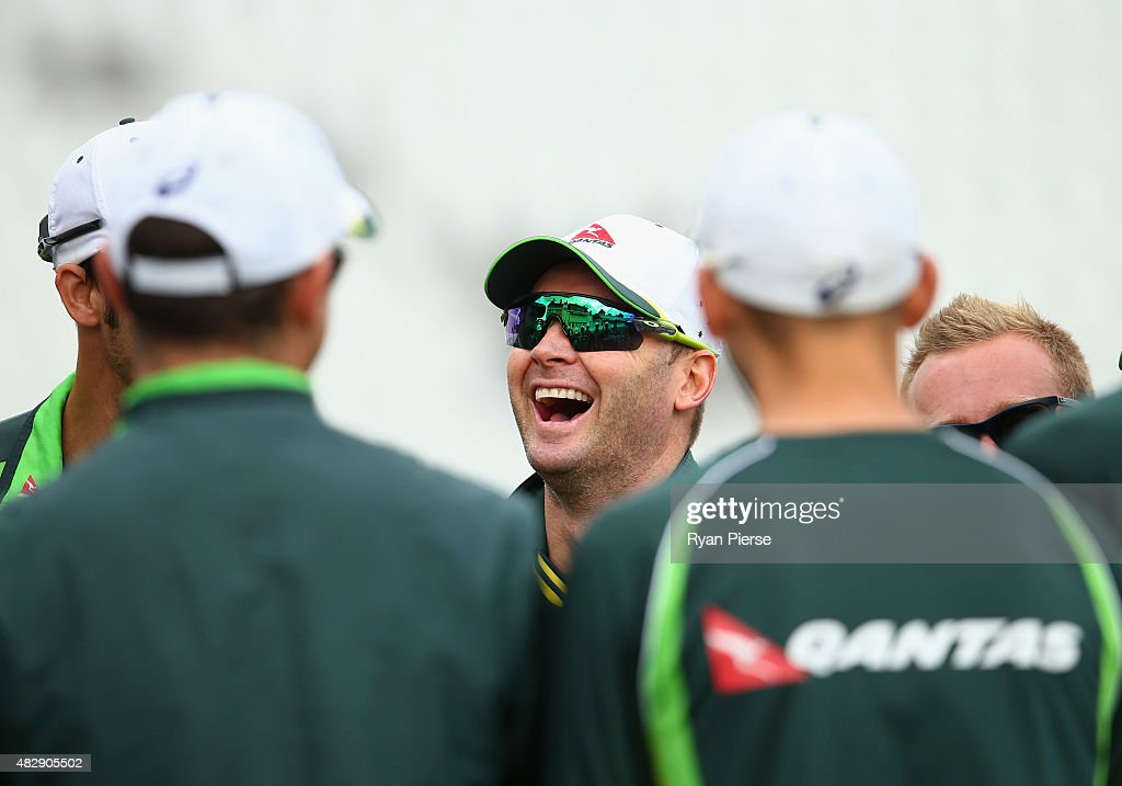 Michael Clarke of Australia looks on during a nets session ahead of the 4th Investec Ashes Test match between England and Australia at Trent Bridge on August 4, 2015 in Nottingham, United Kingdom.