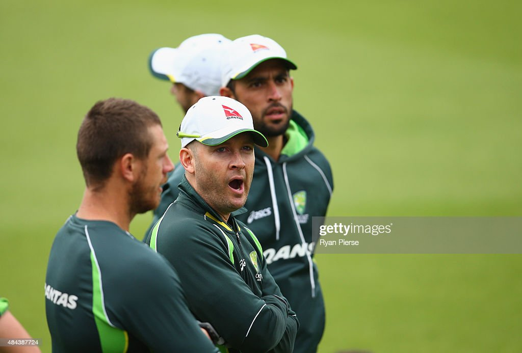 Michael Clarke of Australia looks on during a nets session ahead of the 5th Investec Ashes Test match between England and Australia at The Kia Oval on August 18, 2015 in London, United Kingdom.