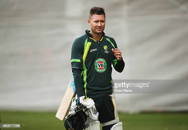Michael Clarke of Australia looks on during an Australian nets session at Adelaide Oval on December 7 2014 in Adelaide Australia