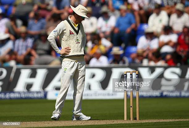 Michael Clarke of Australia looks on during day three of the 1st Investec Ashes Test match between England and Australia at SWALEC Stadium on July 10...
