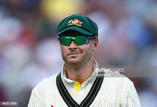 Michael Clarke of Australia looks on during day three of the 3rd Investec Ashes Test match between England and Australia at Edgbaston on July 31 2015...