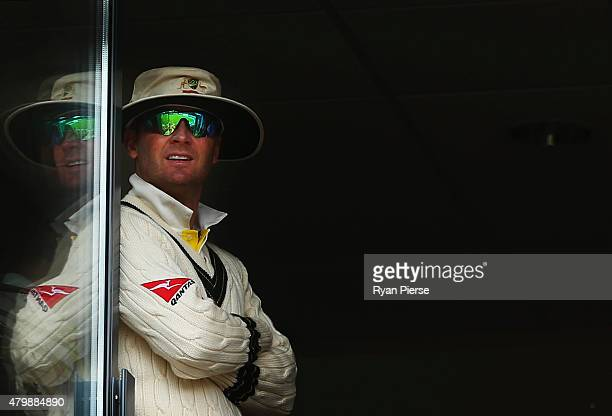 Michael Clarke of Australia looks on during the lunch break during day one of the 1st Investec Ashes Test match between England and Australia at...
