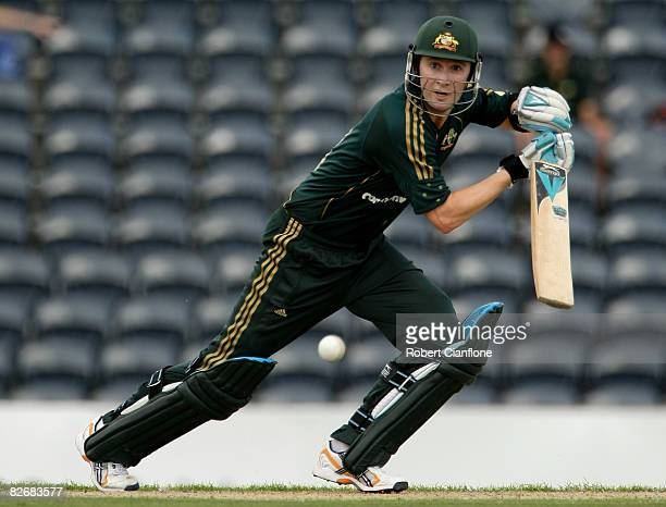Michael Clarke of Australia plays a shot during the third one day international match between Australia and Bangladesh held at TIO Stadium on...