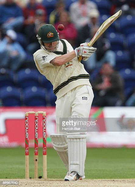 Michael Clarke of Australia plays the shot which led to his dismissal off the bowling of Stuart Broad of England during day three of the npower 1st...