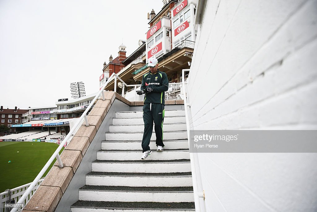 Michael Clarke of Australia prepares to train during a nets session ahead of the 5th Investec Ashes Test match between England and Australia at The Kia Oval on August 18, 2015 in London, United Kingdom.