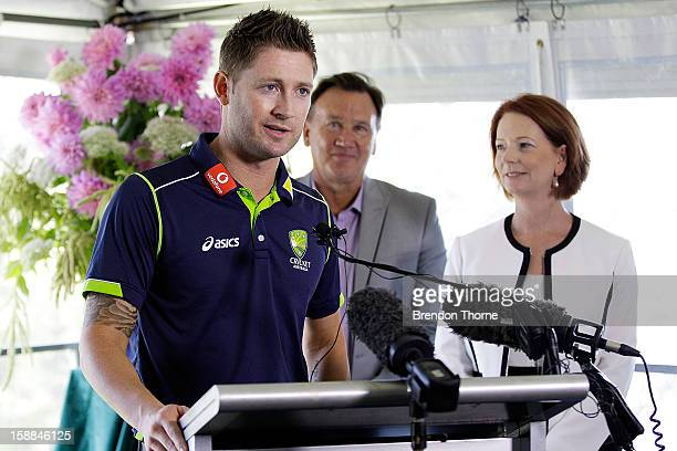 Michael Clarke of Australia speaks during a function at Kirribilli House on January 1 2013 in Sydney Australia