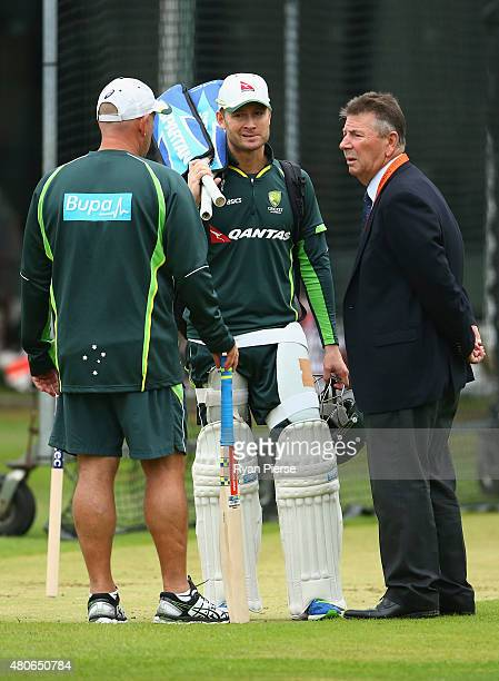 Michael Clarke of Australia speaks with Australian coach Darren Lehmann and Australian Chairman of Selectors Rod Marsh during a nets session ahead of...
