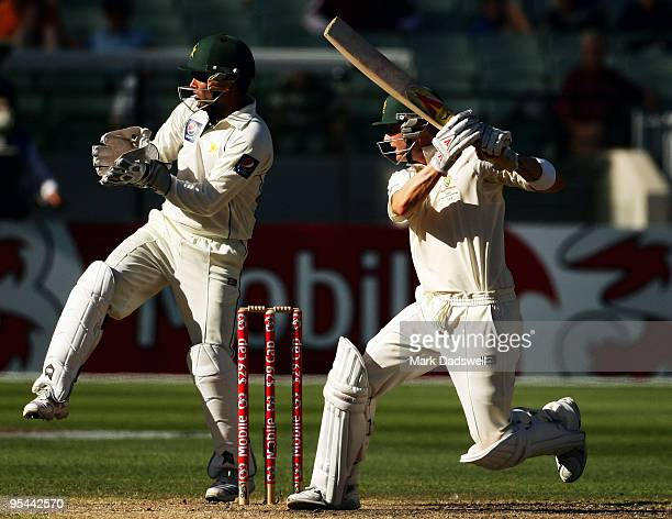 Michael Clarke of Australia square cuts during day three of the First Test match between Australia and Pakistan at Melbourne Cricket Ground on...