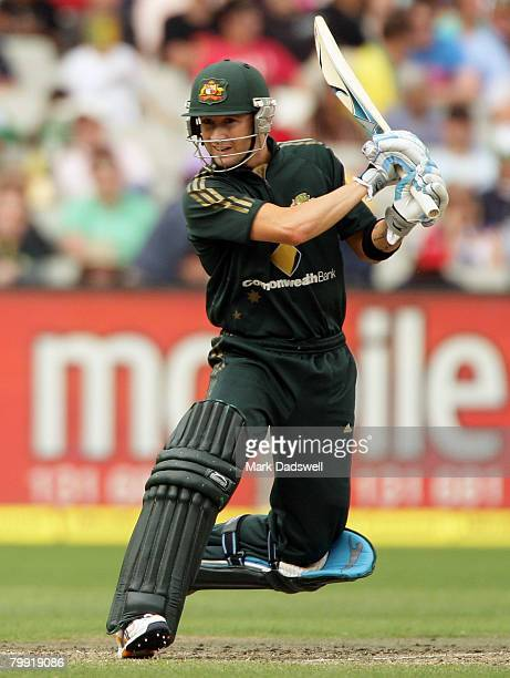 Michael Clarke of Australia square cuts during the Commonwealth Series One Day International match between Australia and Sri Lanka at the Melbourne...