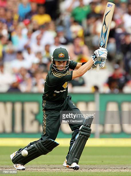 Michael Clarke of Australia square drives during the Commonwealth Series One Day International match between Australia and Sri Lanka at the Melbourne...