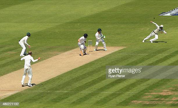 Michael Clarke of Australia takes a catch to dismiss Adam Lyth of England during day three of the 1st Investec Ashes Test match between England and...