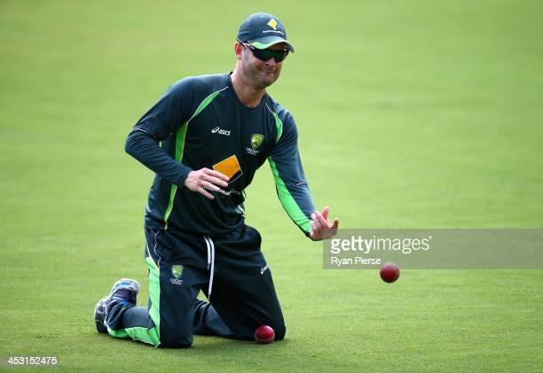 Michael Clarke of Australia trains during an Australia Nets Session at Adelaide Oval on December 3, 2013 in Adelaide, Australia.