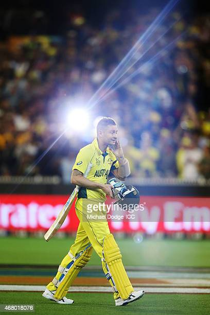 Michael Clarke of Australia walks off after being dismissed during the 2015 ICC Cricket World Cup final match between Australia and New Zealand at...